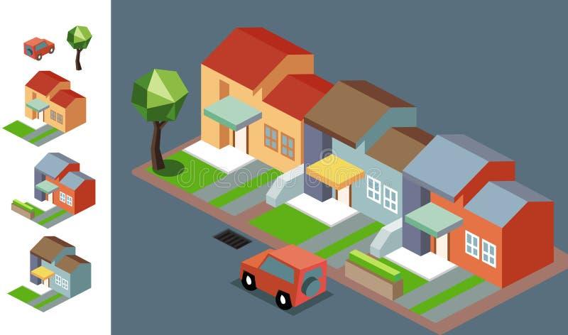 Night Neighbourhood isometric royalty free illustration