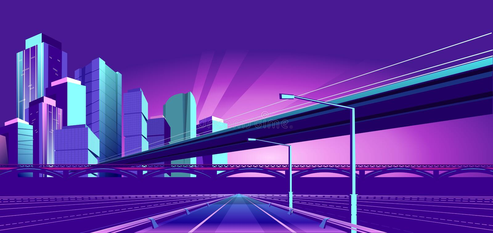 Night Neon City. The night neon city to it bridges are brought and roads go stock illustration