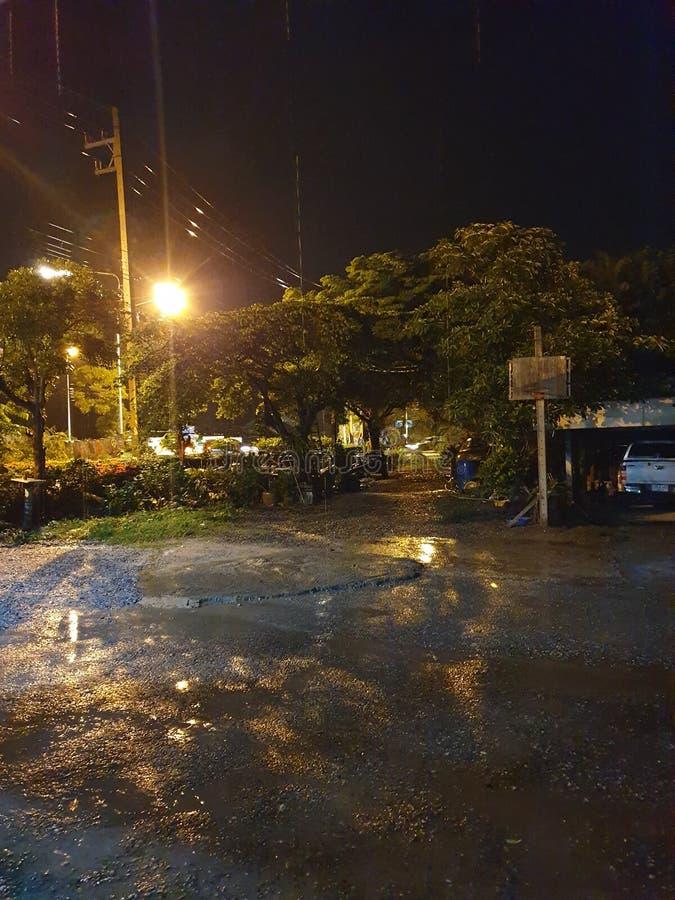 The night. Rain, light, nightshot, note9 stock photography