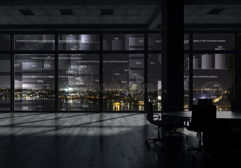 Night office interior . Mixed media royalty free stock images