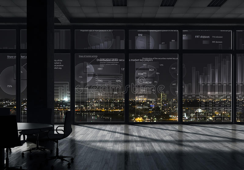 Night office interior . Mixed media royalty free stock photography