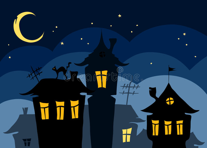 Download Night in Old Town stock vector. Illustration of illustration - 24095280