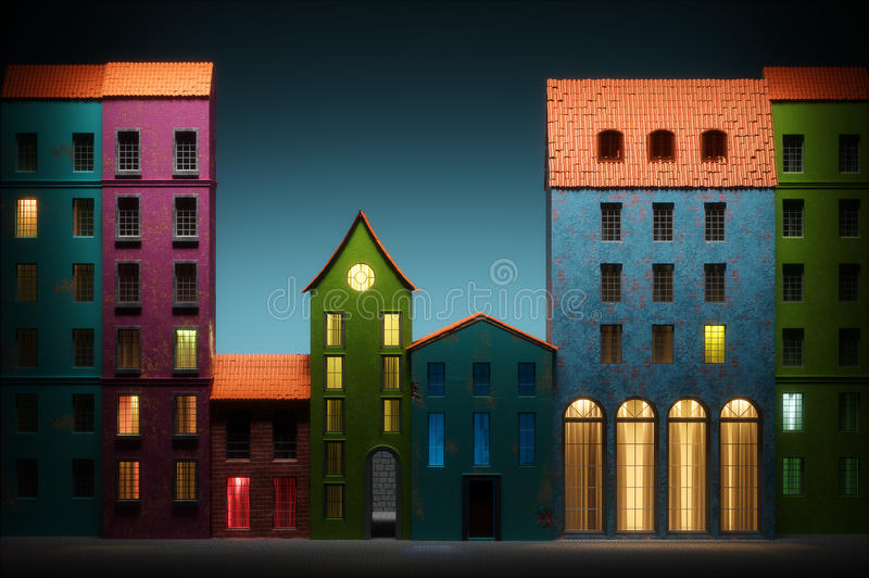 Download Night In Old Town Cartoon Style 3D Illustration Stock