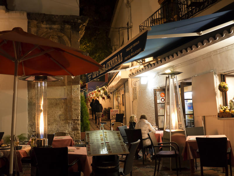 Night in the Old Town of Marbella on the Costa Del Sol Andalucia, Spain. Buildings in the Stylist Old Town of Marbella on the Costa del Sol Spain at night stock photos