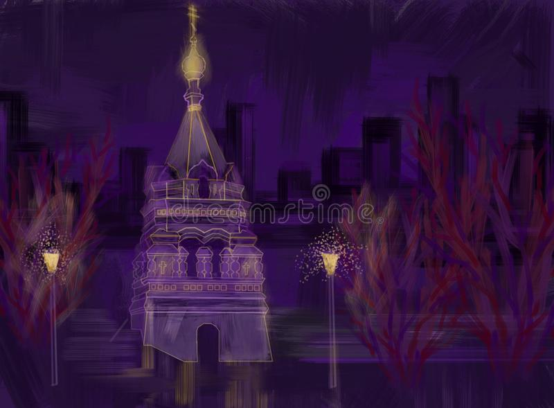 Night Omsk royalty free stock photography