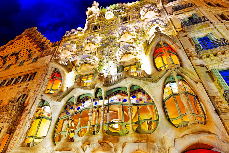 Night outdoor view Gaudi's creation-house Casa Batlo. stock image