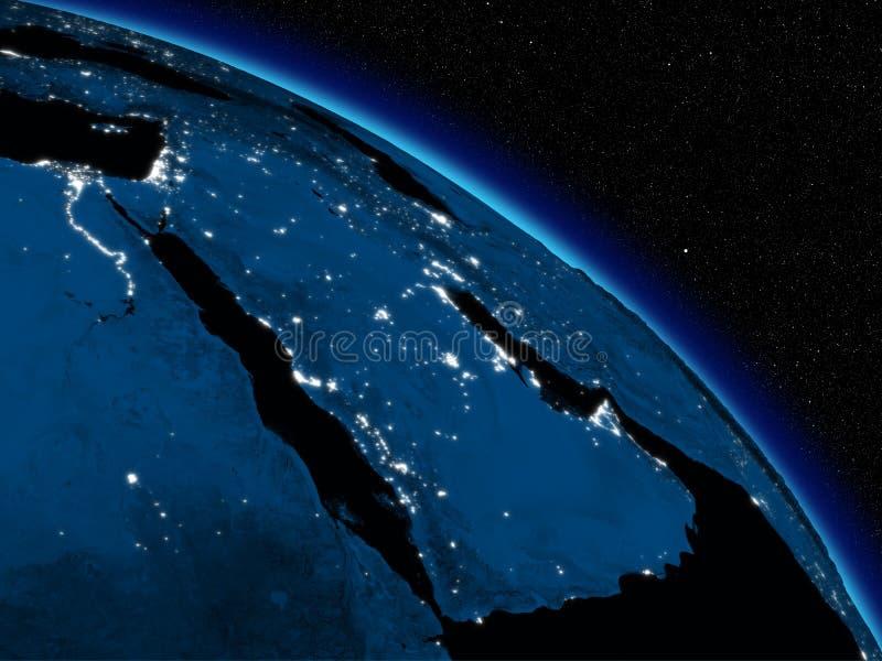 Night over Arabian peninsula vector illustration