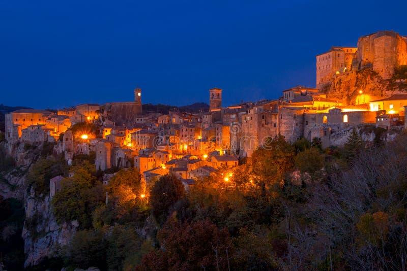 Night over the Autumn Sorano stock photo