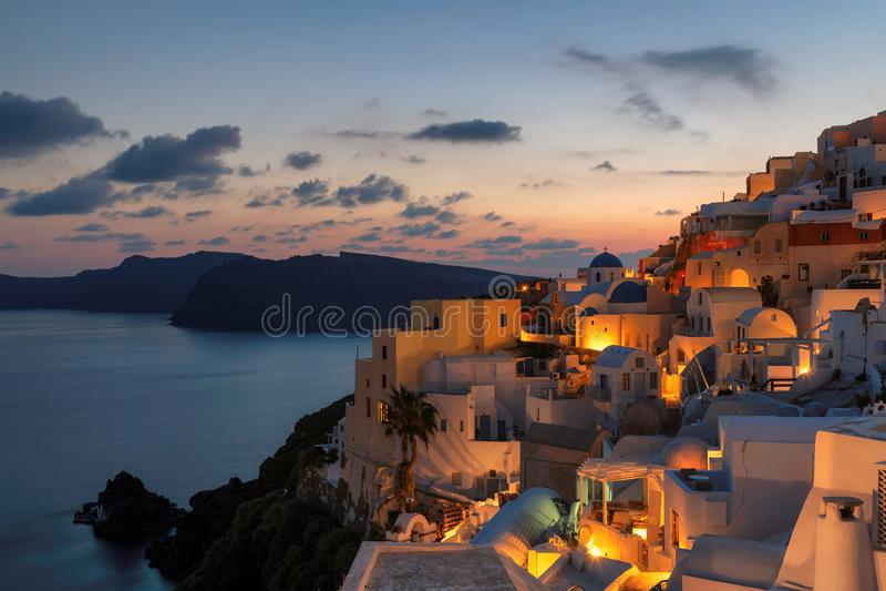 Night view of Santorini island, Greece stock image
