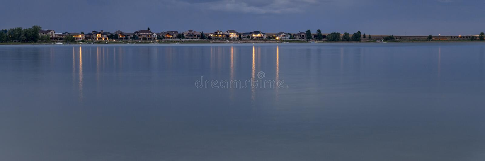 Night over a calm lake in Colorado. Boyd Lake State Park panorama stock image
