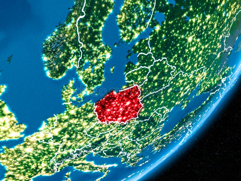 Night over Poland. Poland in red on planet Earth at night with visible borderlines and city lights. 3D illustration. Elements of this image furnished by NASA royalty free illustration