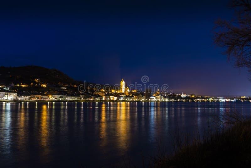 Night over Stein an der Donau. Krems an der Donau. Federal state of Lower Austria. Wachau Valley, Austria royalty free stock image