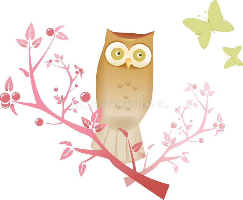 Night owl. Illustration drawing of owl standing on a branch stock illustration
