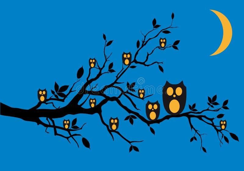 Download Night owls on tree, stock illustration. Image of animal - 25930854