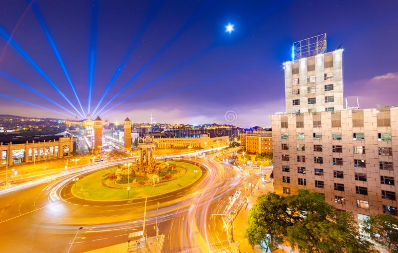 Night panorama of Barcelona, view of the central square Plaça d`Espanya, Spain.  royalty free stock image