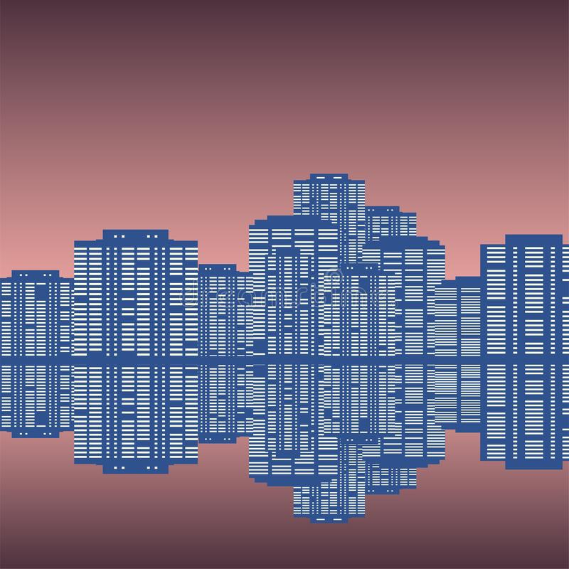 Night panorama of the city with reflection in the water vector illustration