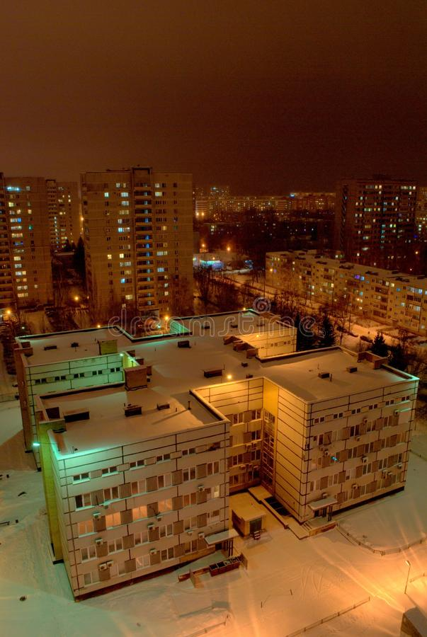 Night panorama of the city of Togliatti overlooking the dental clinic. royalty free stock photography