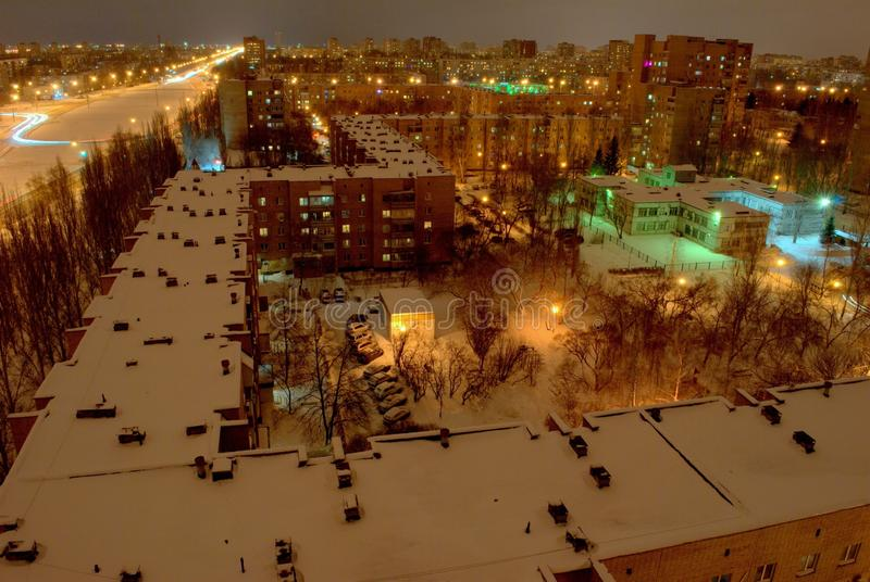 Night panorama of the city of Togliatti overlooking residential buildings in one of the city's quarters. Night panorama of the Avtozavodsky district of royalty free stock photos