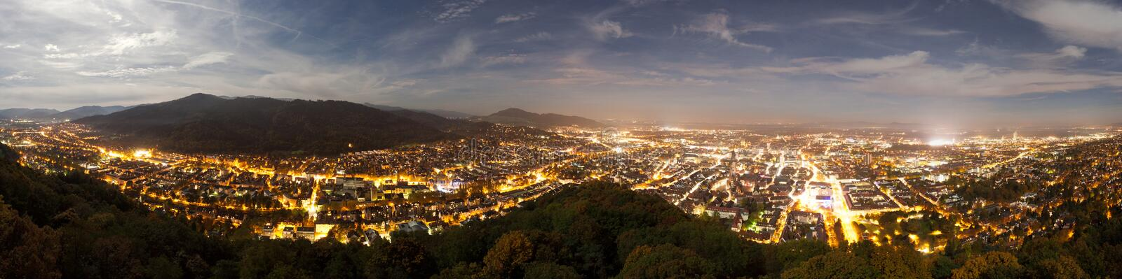 Night panorama of Freiburg, Germany. Night panorama of the city of Freiburg, Germany royalty free stock photos