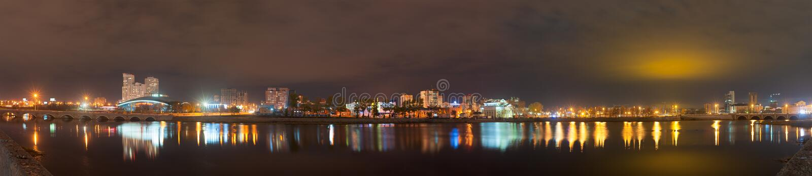 Night panorama of the Miass River embankment, Chelyabinsk, October 2017. Editorial use only. Russia, Chelyabinsk - October 2017: Night panorama of the Miass stock image