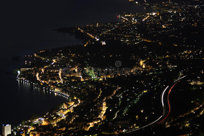 Night panorama Montreux, Vevey and swiss riviera. From Caux, Switzerland royalty free stock photo