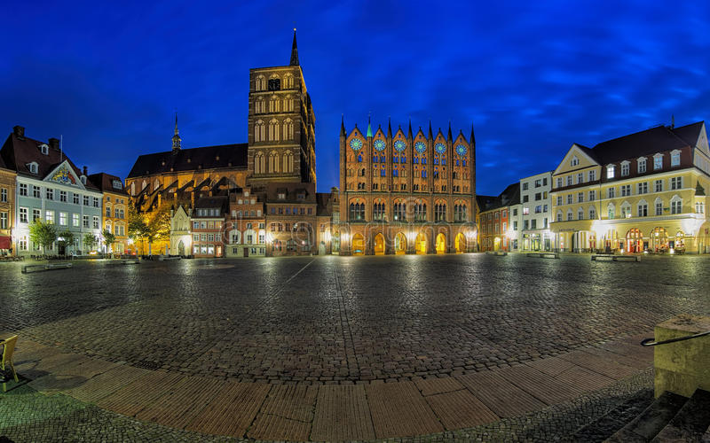 Night panorama of Old Market square in Stralsund, Germany stock photo