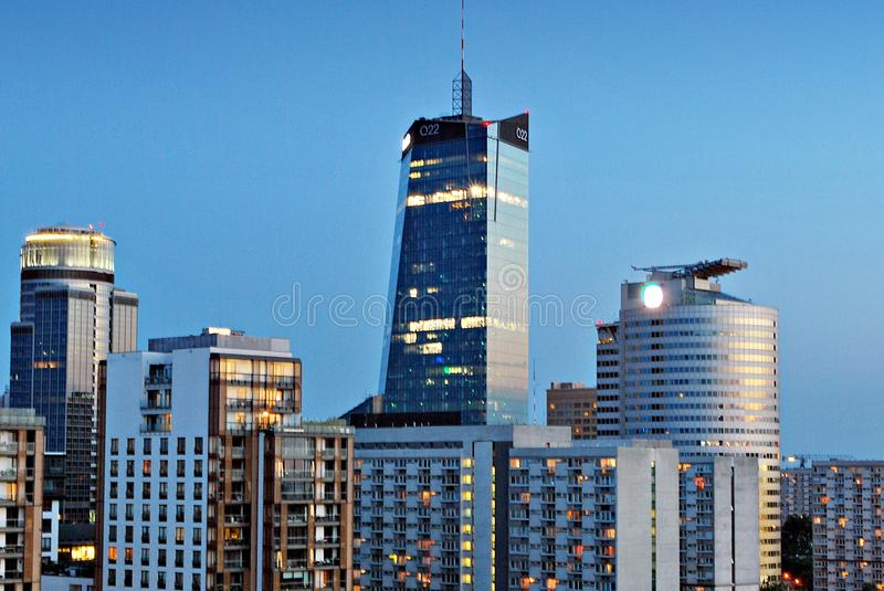 Night panorama of Warsaw city center. View of the city center. Warsaw,Poland. 15 June 2017.Night panorama of Warsaw city center. Business and finance centerwith royalty free stock images