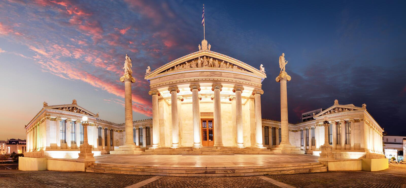 Night Panoramic view of Academy of Athens, Attica, Greece stock photos