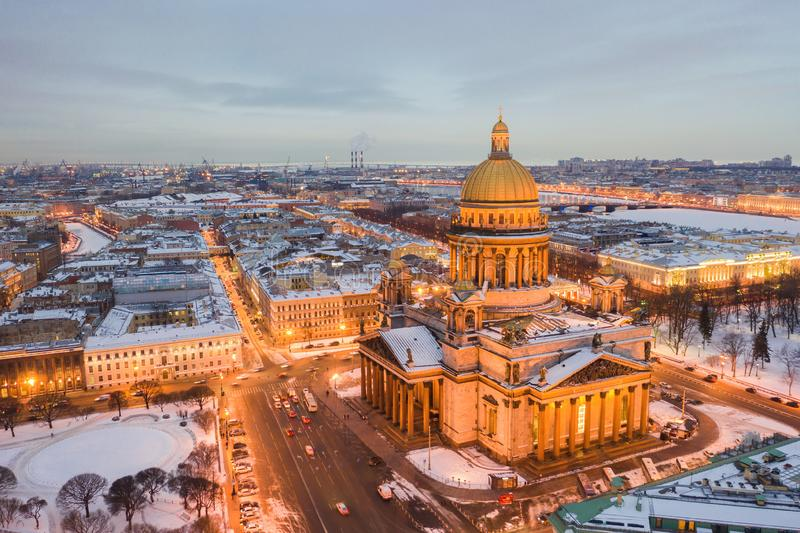 Night panoramic view from the aerial view of the center of St. Petersburg. St. Isaac`s Cathedra stock photography