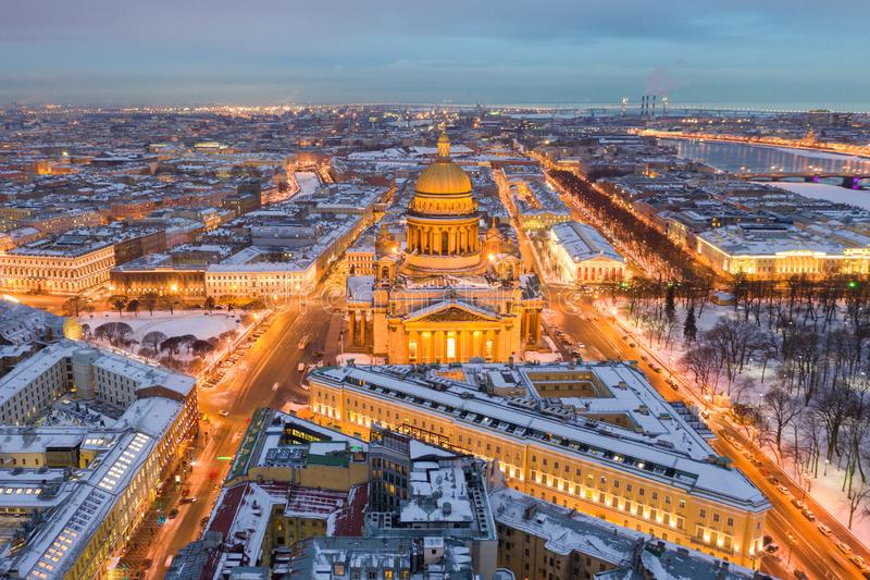 Night panoramic view from the aerial view of the center of St. Petersburg. St. Isaac`s Cathedra royalty free stock photo