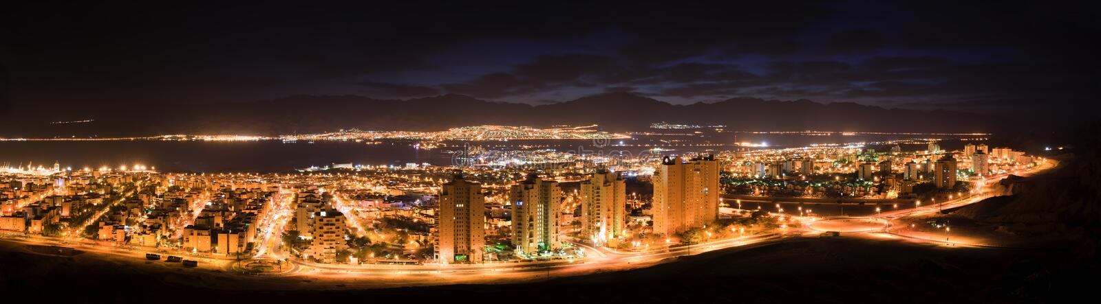 Night panoramic view of Eilat, Israel stock image