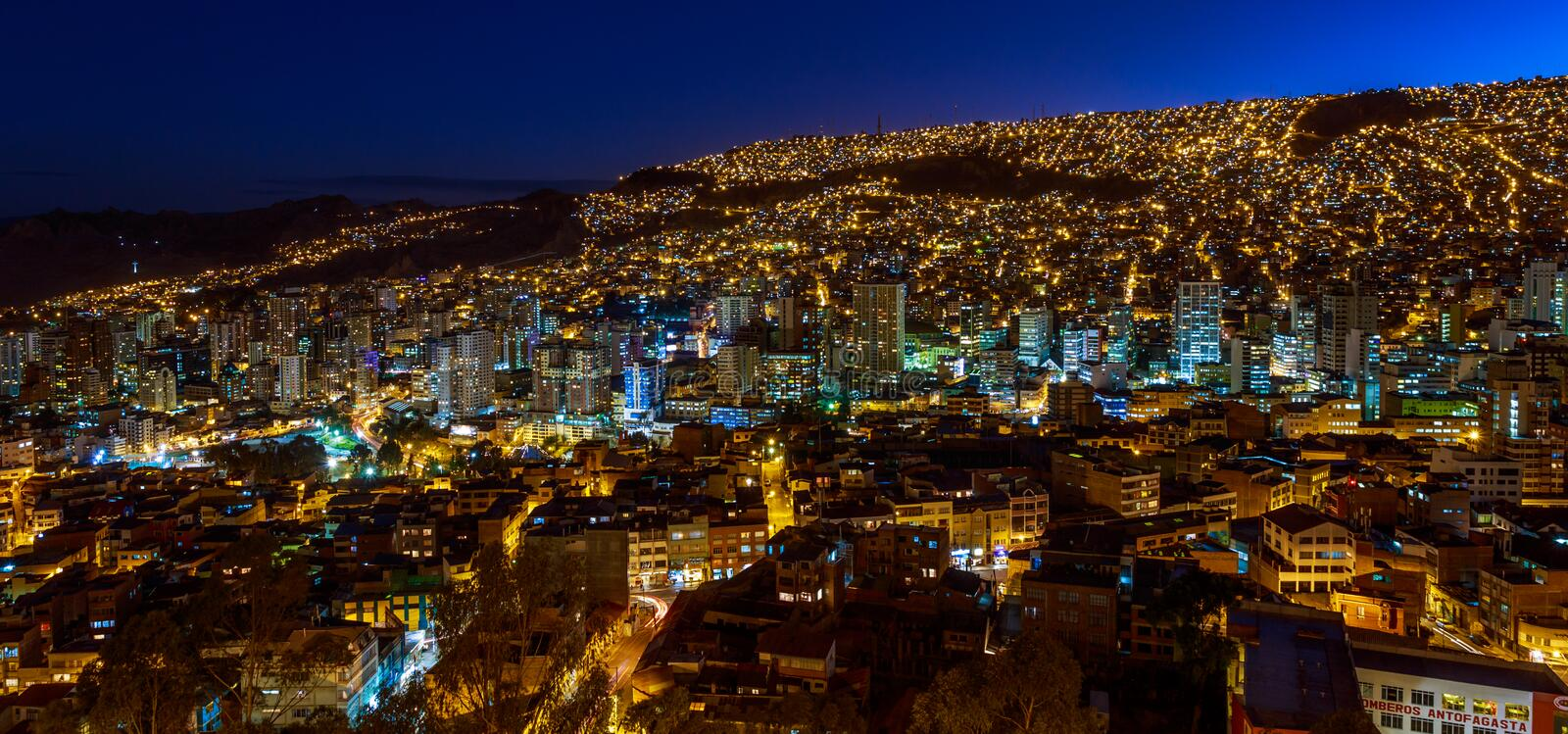 Night panoramic view of illuminated cenral business district, La royalty free stock photo