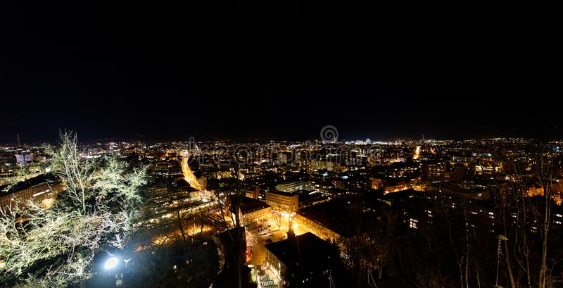 Night panoramic view of Ljubljana from Ljubljana Castle, Slovenia royalty free stock photo