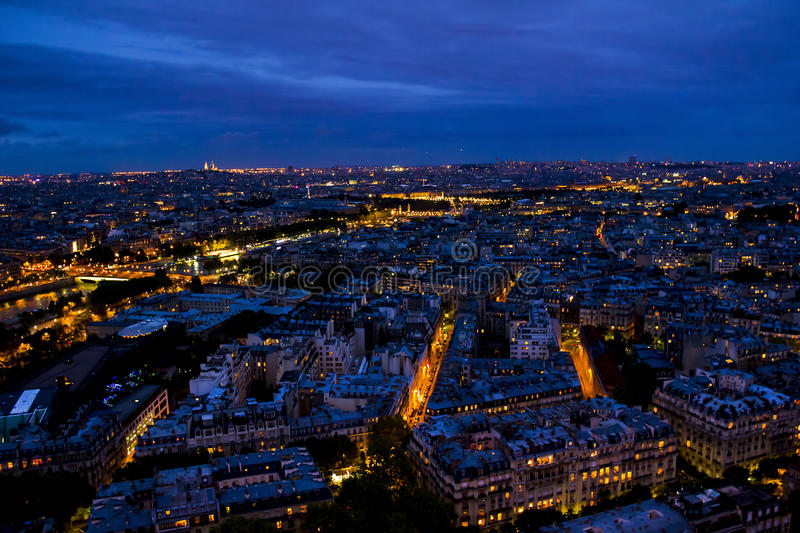 Night Paris from the Eiffel Tower stock photo