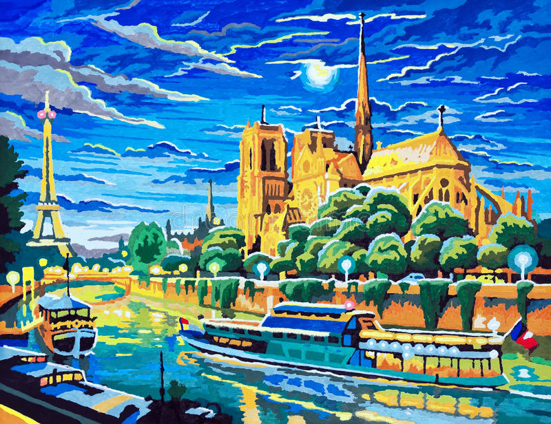 Night in Paris. VILNIUS, LITHUANIA - SEPTEMBER 28: Painting by numbers - night in Paris - handmade child acrylic art. Standart set of the KSG UK company. The