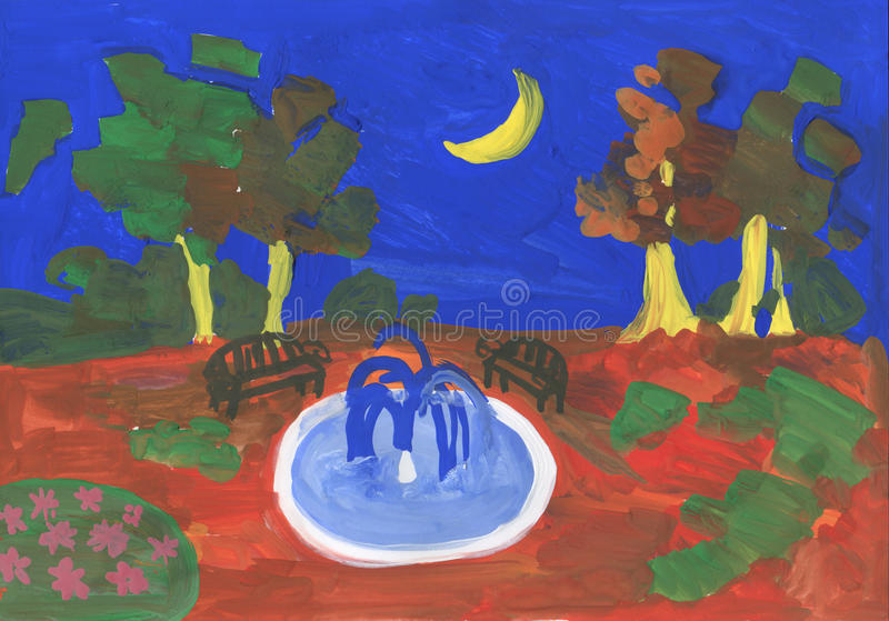 Night park at moon. Drawn by gouache vector illustration