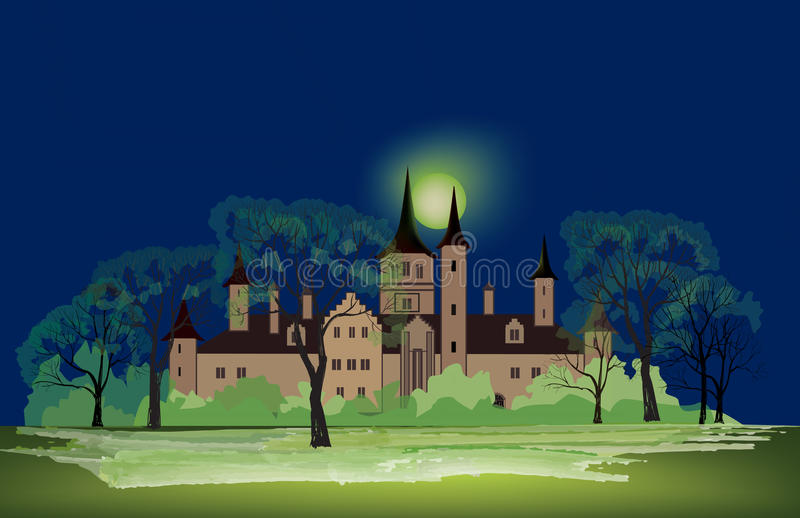 A Night in the Park with Old Building. Late Autumn Night in the. Park with Castle and Milky Way. Full moon mystic night in park alley vector illustration