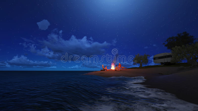 Night party on the beach royalty free illustration