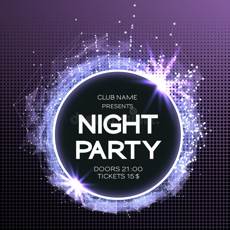Night Party Dance Poster Background. Event celebration flyer. Futuristic technology style. abstract design with plexus.  stock illustration