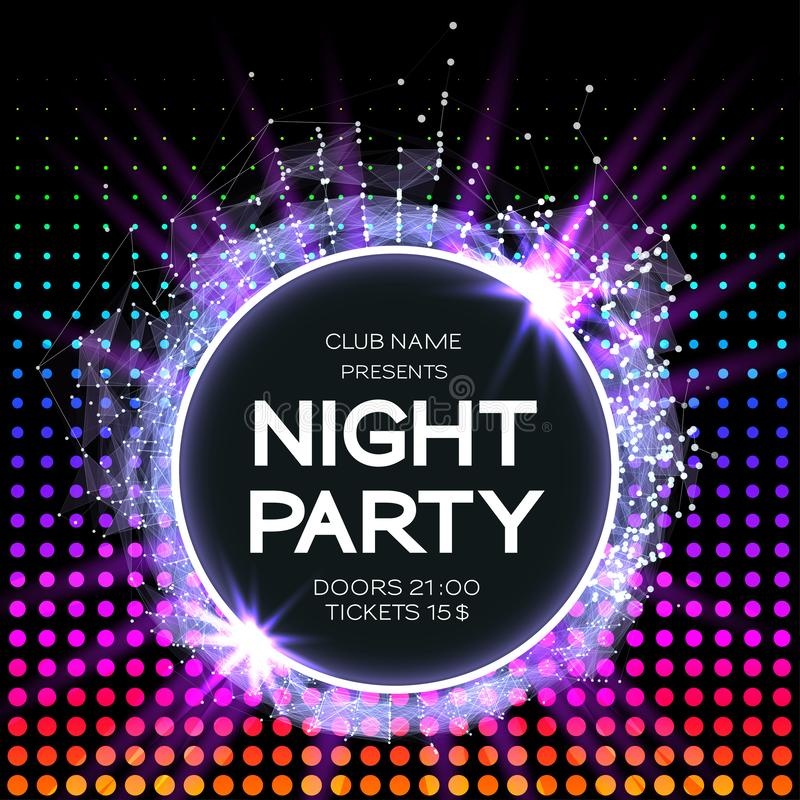 Night Party Dance Poster Background. Event celebration flyer. Futuristic technology style. abstract design with plexus.  royalty free illustration