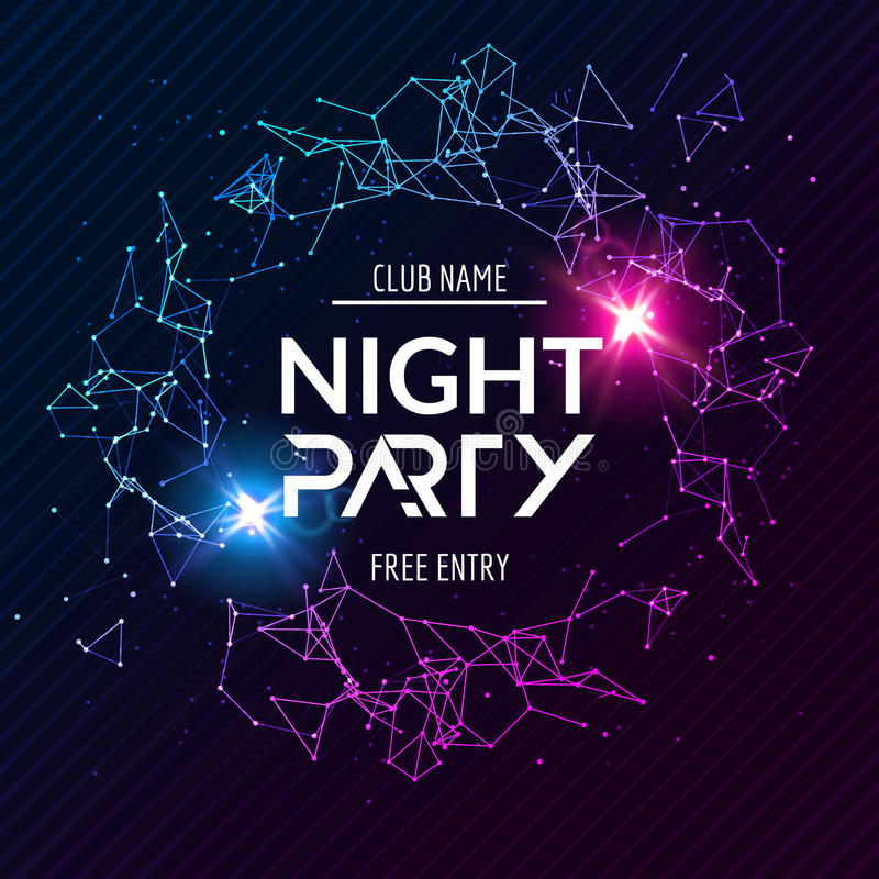 Night Party poster. Shiny banner club disco. Dj dance summer invitation stock illustration