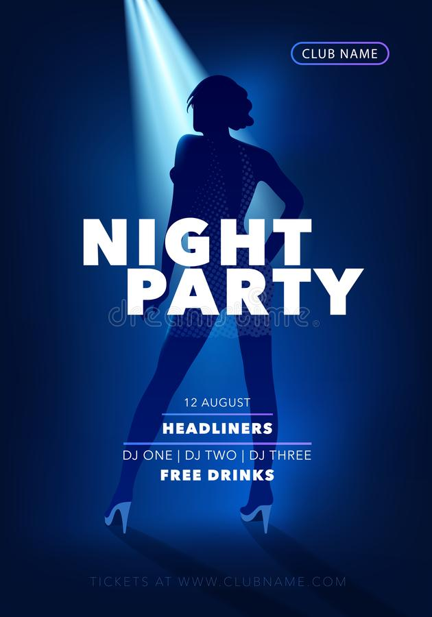 Night party vector flyer, poster with dancing girl. Disco club announcement vector illustration