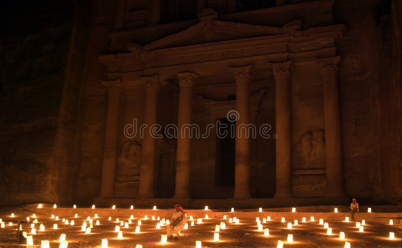 Download Night Petra Show - Amazing Attraction Stock Photos - Image: 7385313