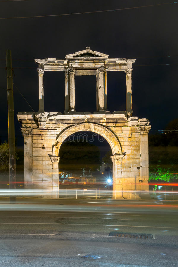 Night photo of Arch of Hadrian in Athens, Greece royalty free stock images