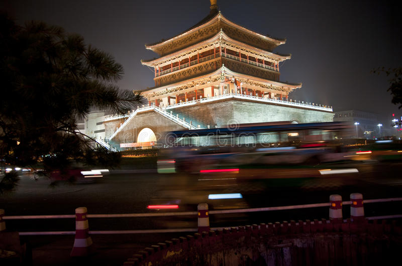 Xian Bell Tower, China. Night photo of the Bell Tower of Xian, China stock image