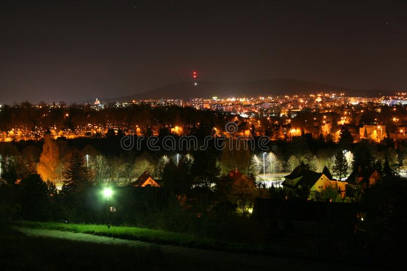 Night photo of the city on the feast of the dead royalty free stock photography
