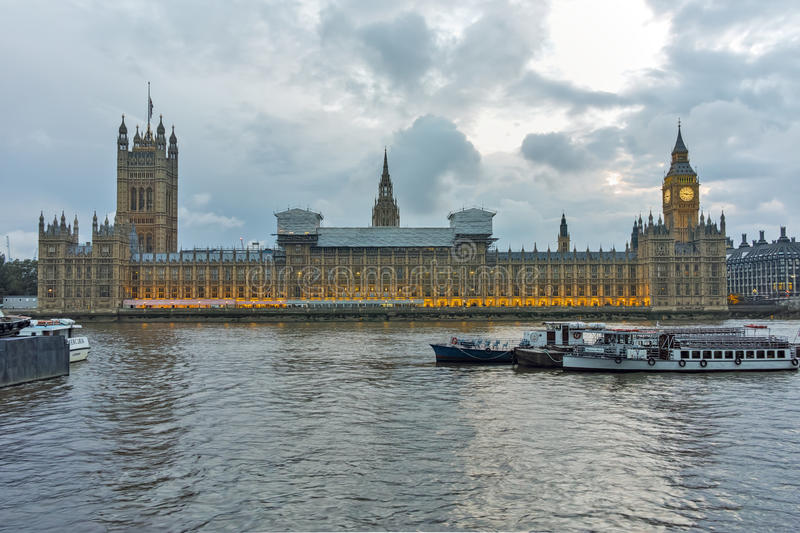 Night photo of Houses of Parliament with Big Ben, Westminster Palace, London, England royalty free stock image