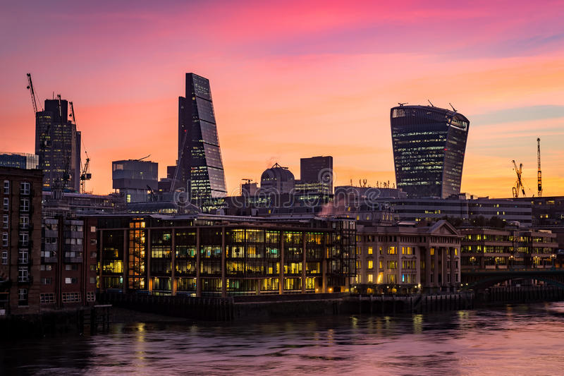 Night photo of London silhouette, offices by the Thames river royalty free stock photo