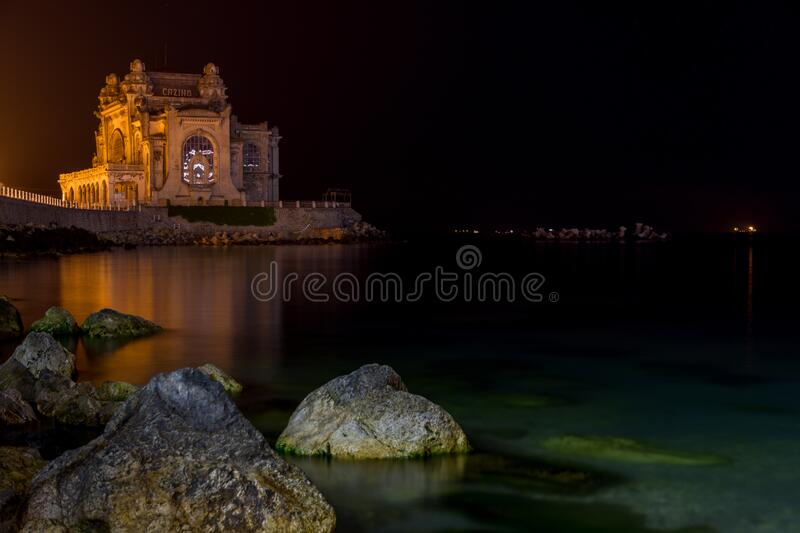 Night photo old casino on the black sea shore in constanta city, romania. Night photo old casino on the black sea shore,constanta city, romania stock images