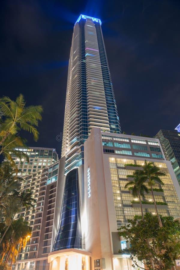 Night photo Panorama Tower Downtown Brickell Miami FL stock images